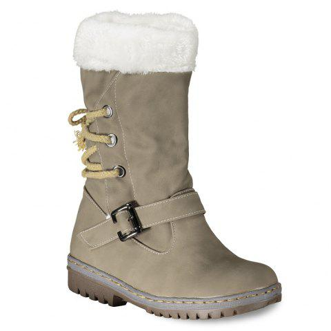 Buckle Strap Tie Up Mid Calf Boots - KHAKI 39