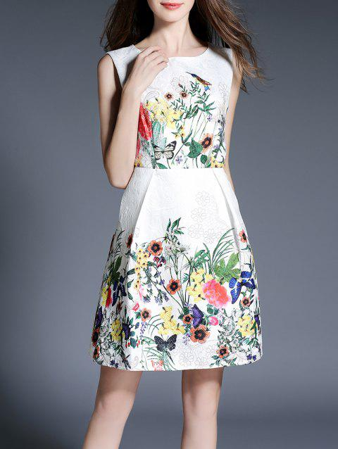 Jacquard Flower Flare Dress - WHITE XL