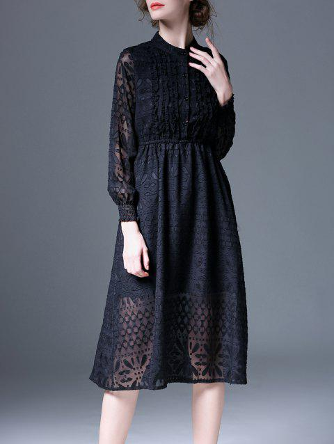 High Waist Jacquard Ruffle Buttoned Dress - BLACK M