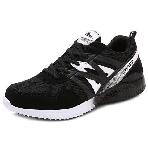 Faux Leather Breathable Athletic Shoes - WHITE/BLACK 40