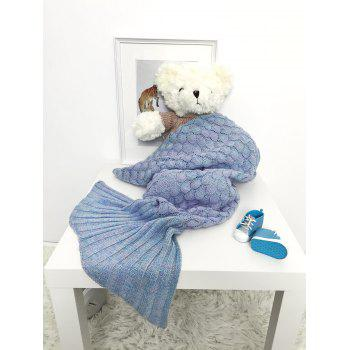Photography Hollow Out Crochet Knit Mermaid Blanket Throw For Baby - LIGHT BLUE LIGHT BLUE
