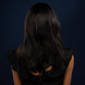 Medium Straight Middle Part Black Synthetic Hair Wig - BLACK
