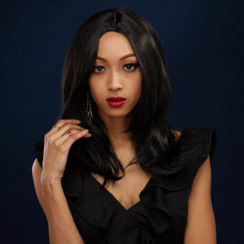 Medium Straight Middle Part Black Synthetic Hair Wig