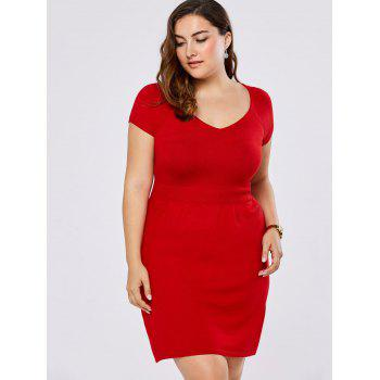 Plus Size V Neck Mini Sweater Dress
