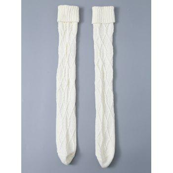 Cable Knit Flanging Woolen Yarn Stockings