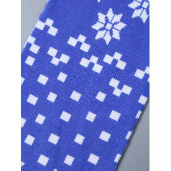 Christmas Snowflake Print Knit Stockings - BLUE