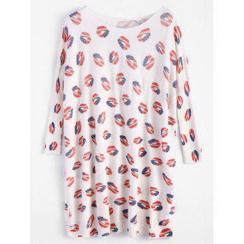 Lip Print Batwing Sleeve Sweater