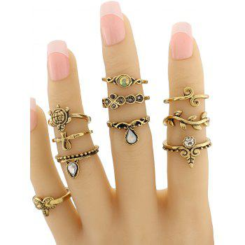 Tortoise Leaf Geometric Jewelry Ring Set