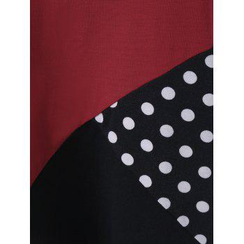 Plus Size Polka T-Shirt Panel Dot - Noir et Blanc et Rouge 2XL