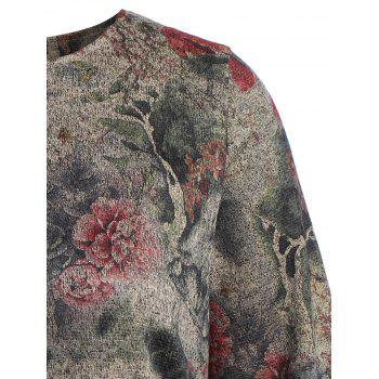 Robe chasuble Floral manches longues - gris 2XL
