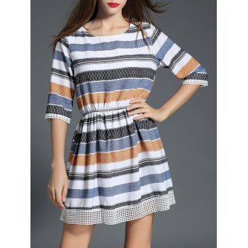 Striped Contrast Lace Insert Dress