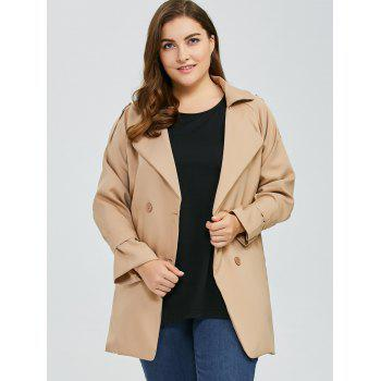 Plus Size Coat Double Breasted Trench - Kaki 4XL