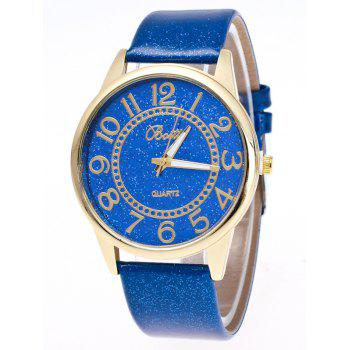 Faux Leather Glitter Analog Number Watch