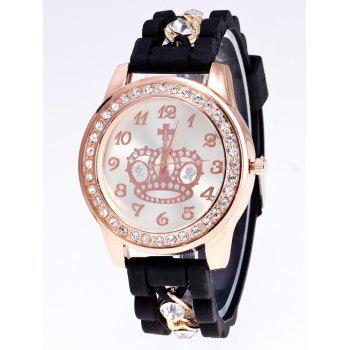 Silicone Rhinestone Crown Quartz Watch