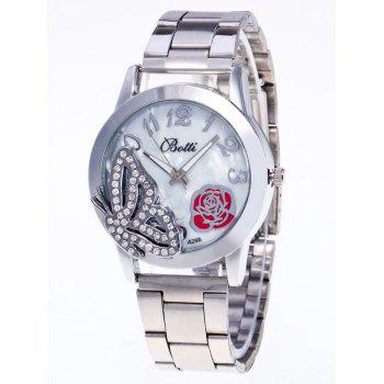 Steel Band Rhinestone Butterfly Number Watch