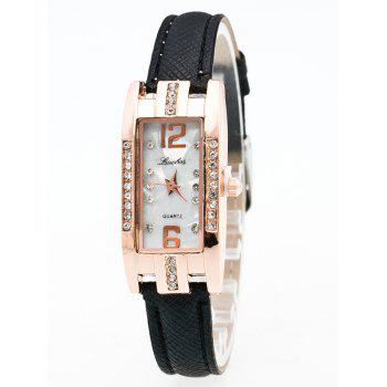 Faux Leather Rhinestone Analog Rectangle Watch