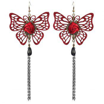 Butterfly Rose Teardrop Earrings