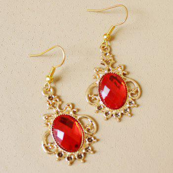 Faux Ruby Oval Earrings