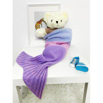Color Block Striped Knit Mermaid Blanket Throw For Baby