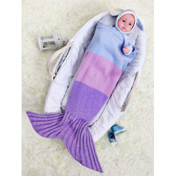 Color Block Striped Knit Mermaid Blanket Throw For Baby - PURPLE