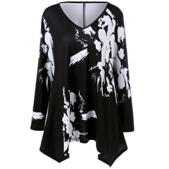 Plus Size Paint Splatter Asymmetric Tunic T-Shirt