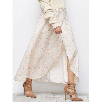 Floral Asymmetric Slit Skirt