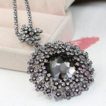 Faux Crystal Rhinestone Floral Pendant Necklace