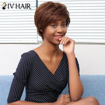 Siv Hair Shaggy Layered Straight Short Side Bang Human Hair Wig -  COLORMIX