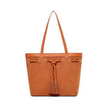 Tassel Drawstring Suede Panel Shoulder Bag
