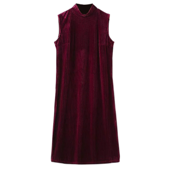 High Collar Pleated Sleeveless Velvet Dress