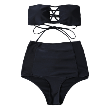 Cut Out High Waisted Lace-Up Combinaison de bain sans bretelles - Noir S