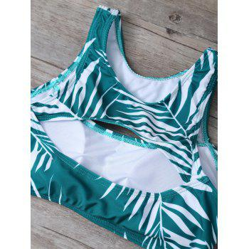 Cut Out Tropical Print Bikini Set - GREEN L