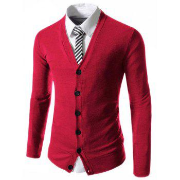 Slimming Stylish V-Neck Single Breasted Solid Color Long Sleeve Polyester Men's Cardigan