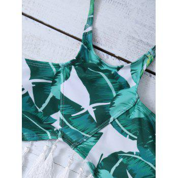 Halter Leaf Print Fringed Bikini Set - GREEN S