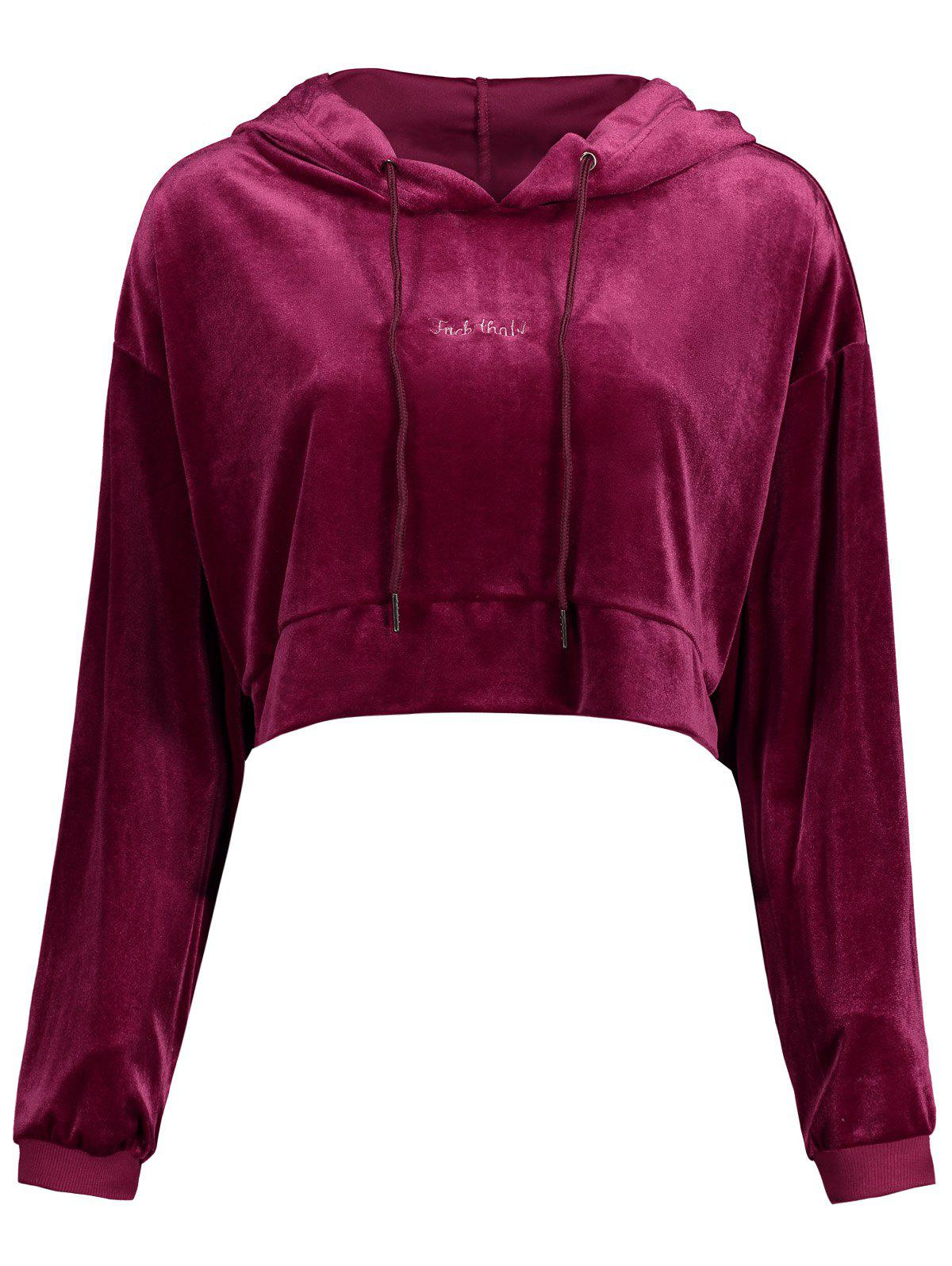 Cropped Velvet Drop Shoulder Hoodie - WINE RED ONE SIZE