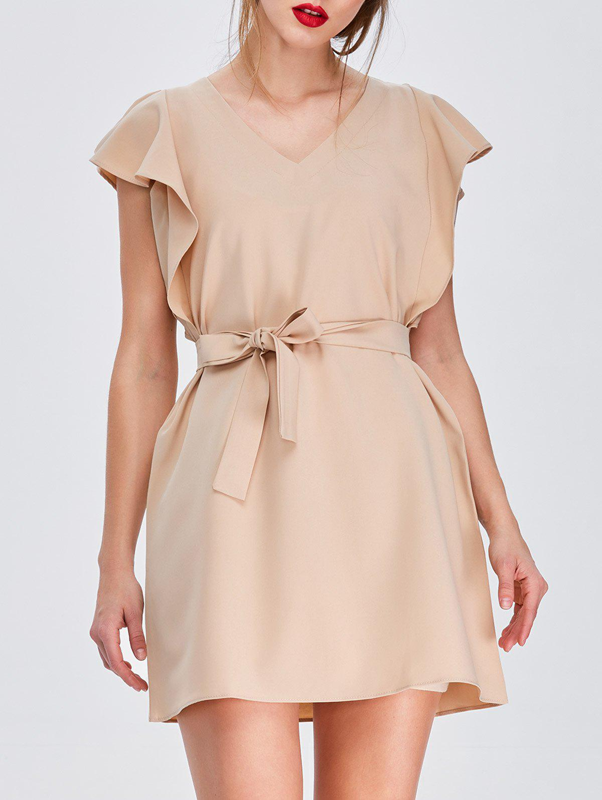 V-Neck Mini Dress with Belt - KHAKI S