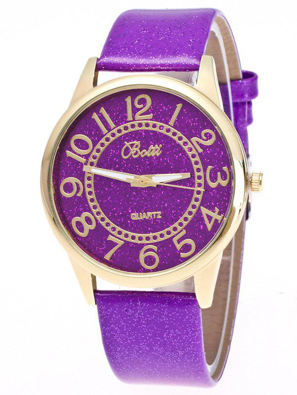 Faux Leather Glitter Analog Number Watch faux leather glitter ombre watch