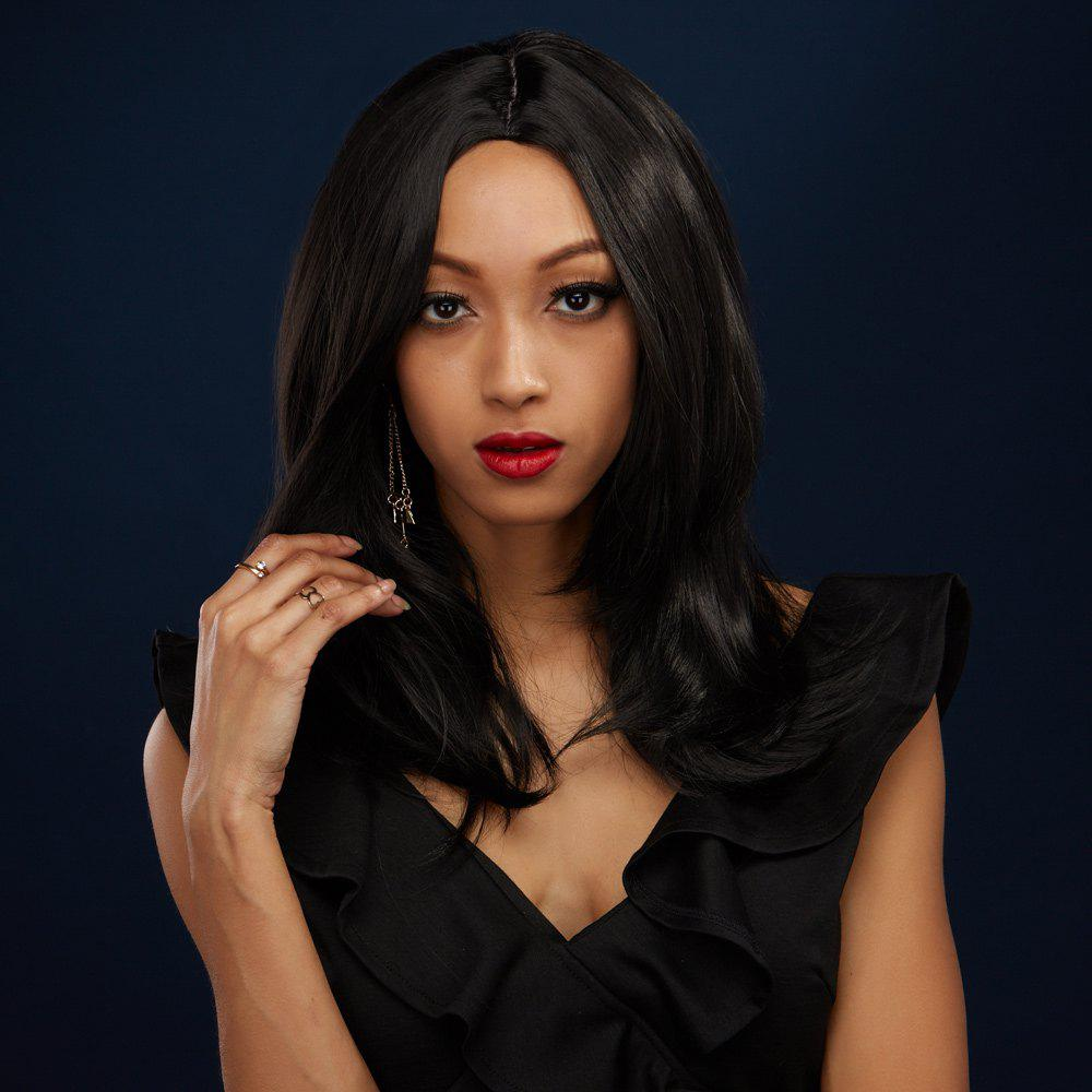 2018 Medium Straight Middle Part Black Synthetic Hair Wig