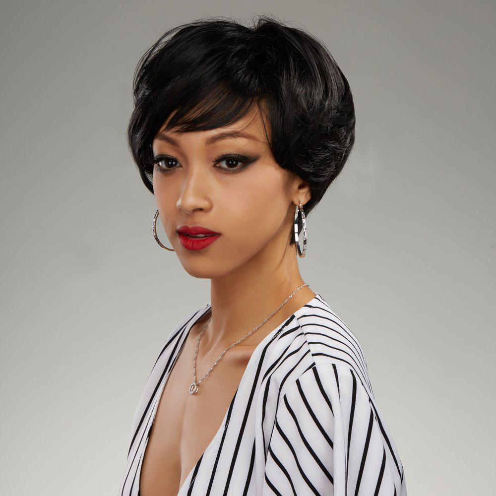 Bob Style Capless Shaggy Curly Short Side Parting Synthetic Wig - BLACK