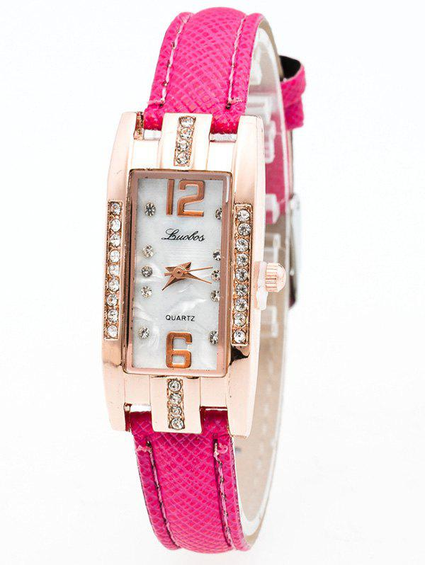 Faux Leather Rhinestone Analog Rectangle WatchWatches<br><br><br>Color: TUTTI FRUTTI