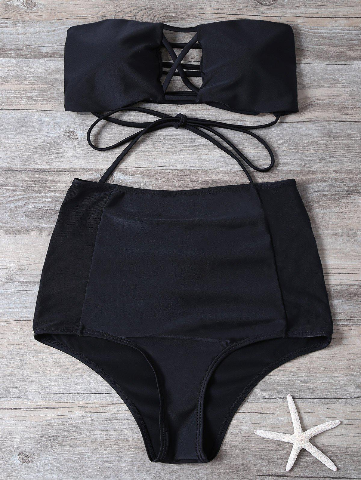 Cut Out High Waisted Lace-Up Strapless Bathing Suit - BLACK L