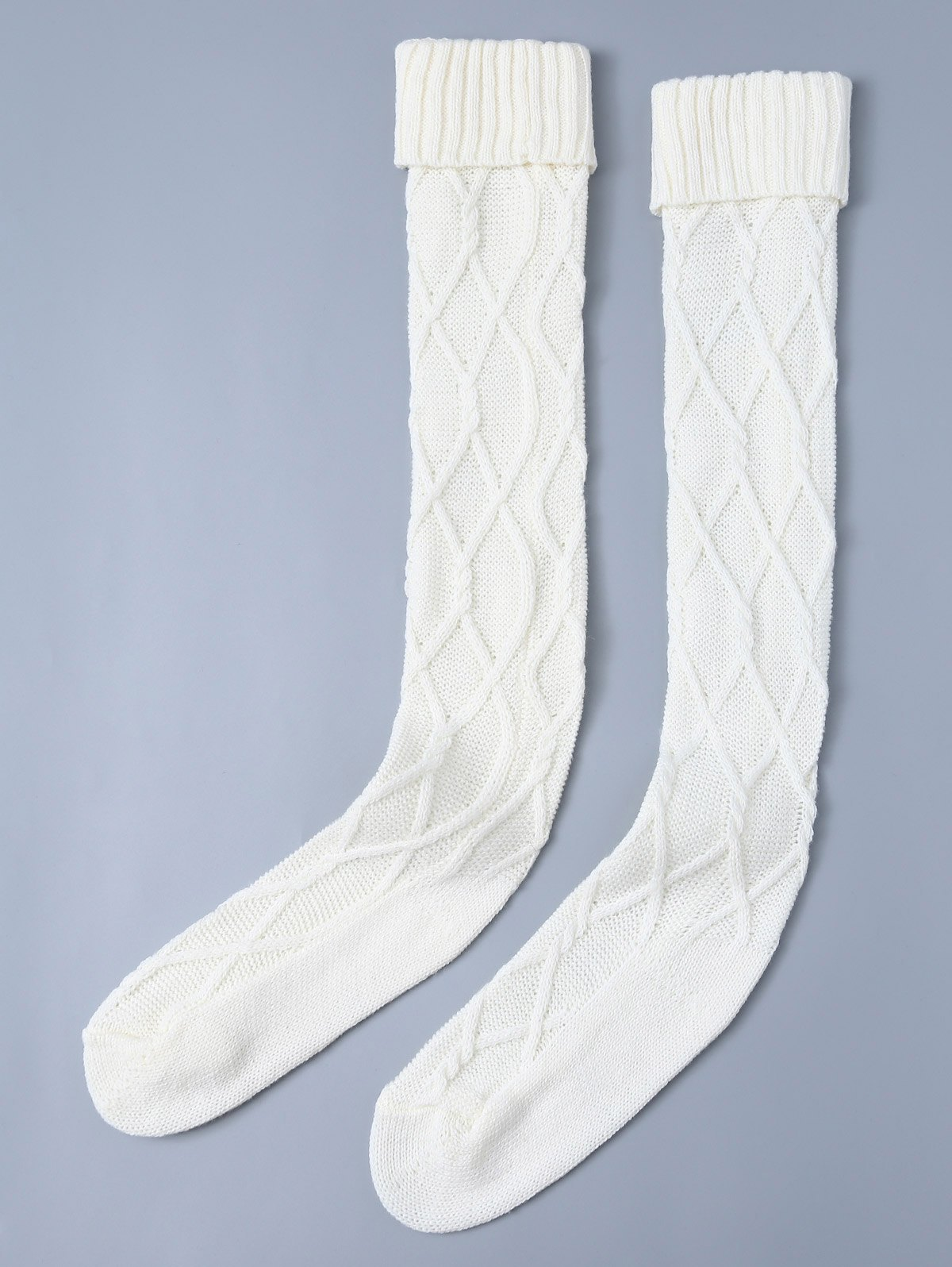 Knitting Notched Skinny StockingsAccessories<br><br><br>Size: ONE SIZE<br>Color: WHITE