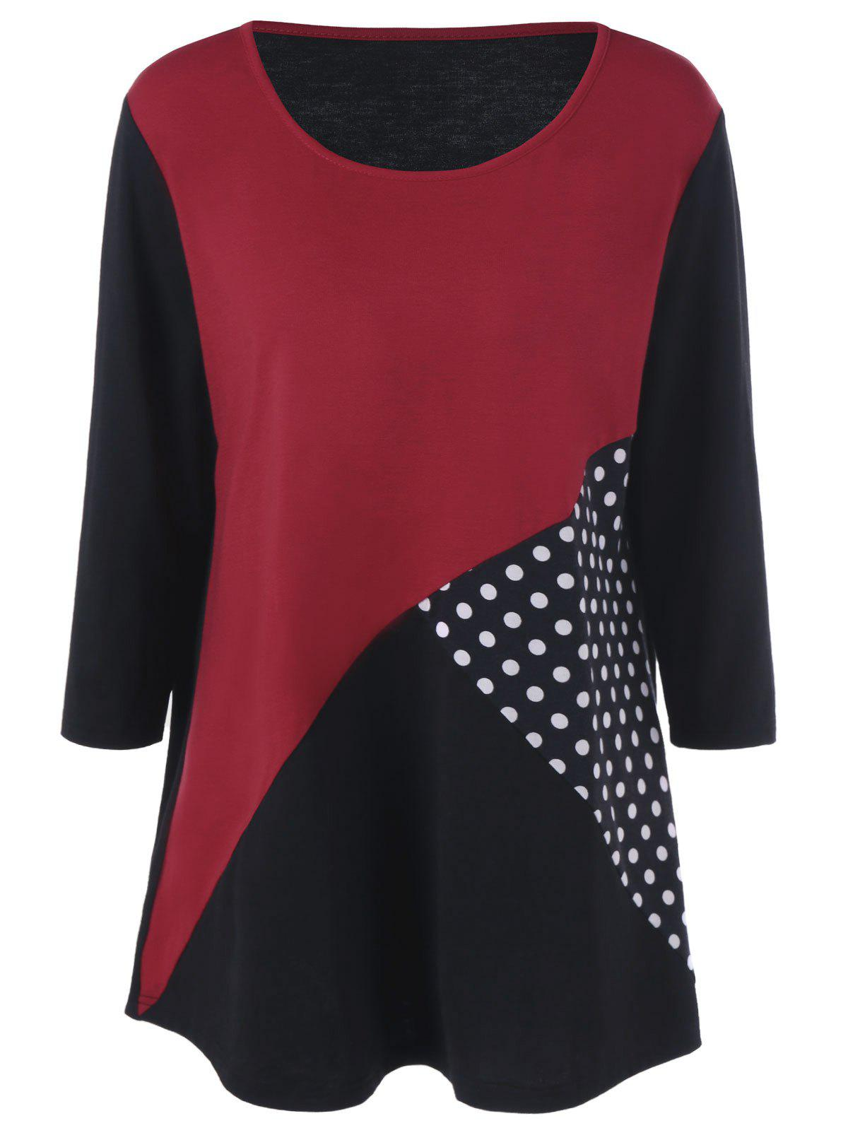 Plus Size Polka Dot Panel T-Shirt