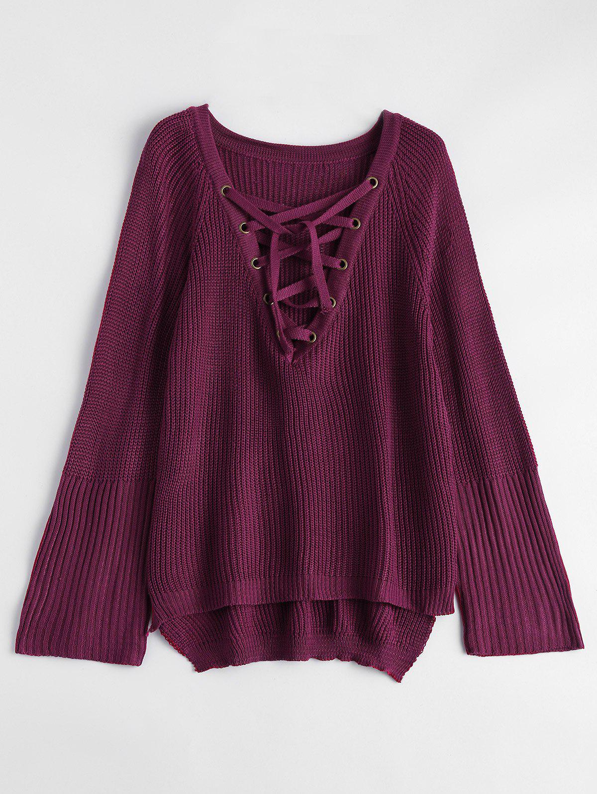 2017 Lace-Up V Neck Pullover Sweater BURGUNDY L In Sweaters ...