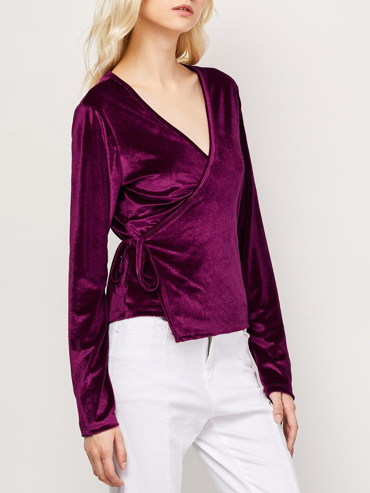 Long Sleeved Velvet Wrap Top - WINE RED S