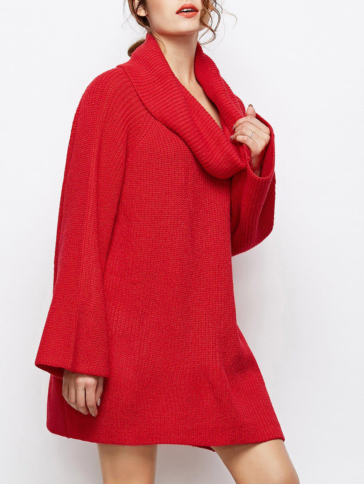 2018 Oversized Chunky Cowl Neck Long Sweater RED M In ...