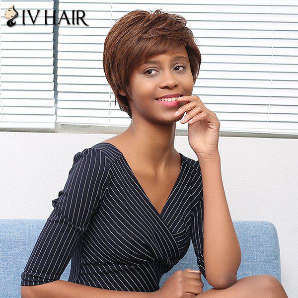 Siv Shaggy Cheveux Layered Side Lisse Court Bang perruque de cheveux humains - multicolore