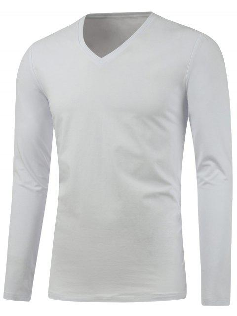 Slim Fit Long Sleeve V Neck Tee - WHITE XL
