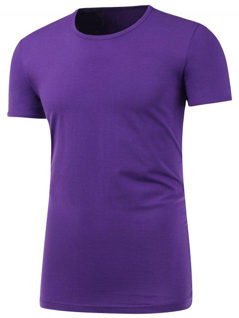 T-shirt Slim manches courtes a col rond - Pourpre S