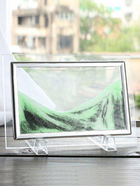 3D Hourglass Decorative Craft Sand Painting Frame Picture - LIGHT GREEN 22 X17CM